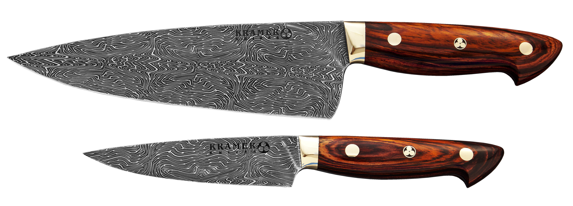 "8"" Chef and 5"" Utility (euro style) Plasma Mosaic Damascus, Rosewood Handle"