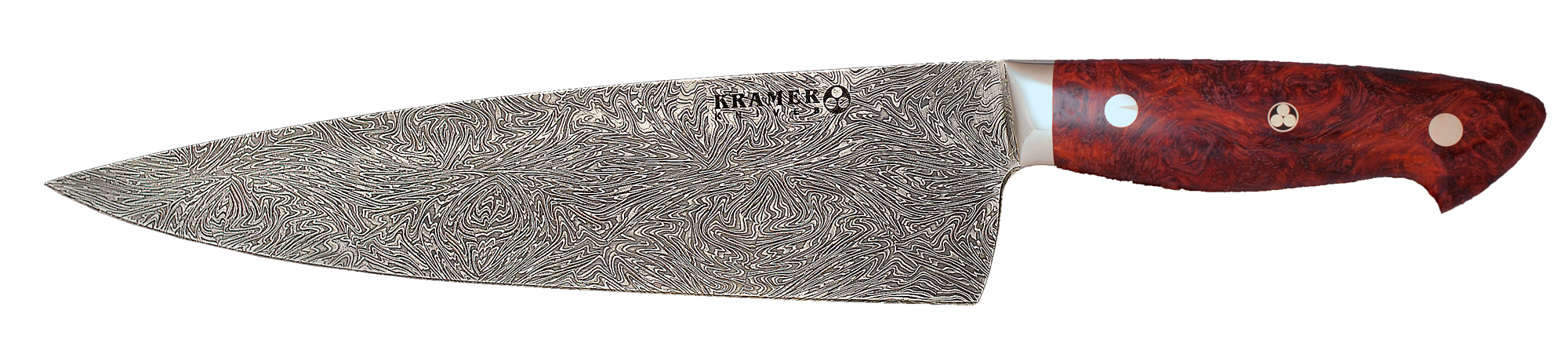 10″ Chef (Euro Style) Shockwave Mosaic Damascus, Amboyna Burl Handle