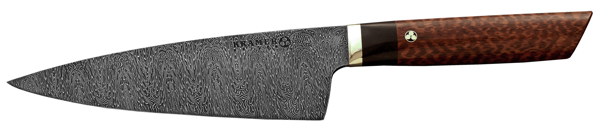 "8"" Chef (Meiji Style - RH) Milky Wave Mosaic Damascus, Snakewood Handle"