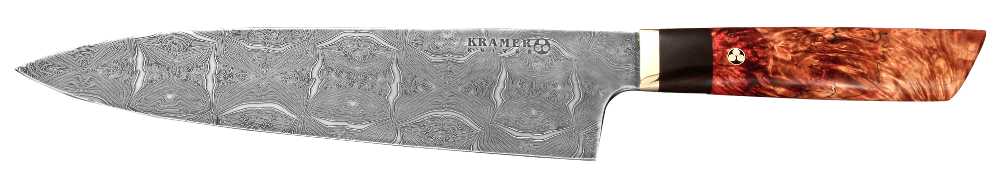 "10"" Meiji Chef Mosaic Damascus with Spalted Box Elder Handle 