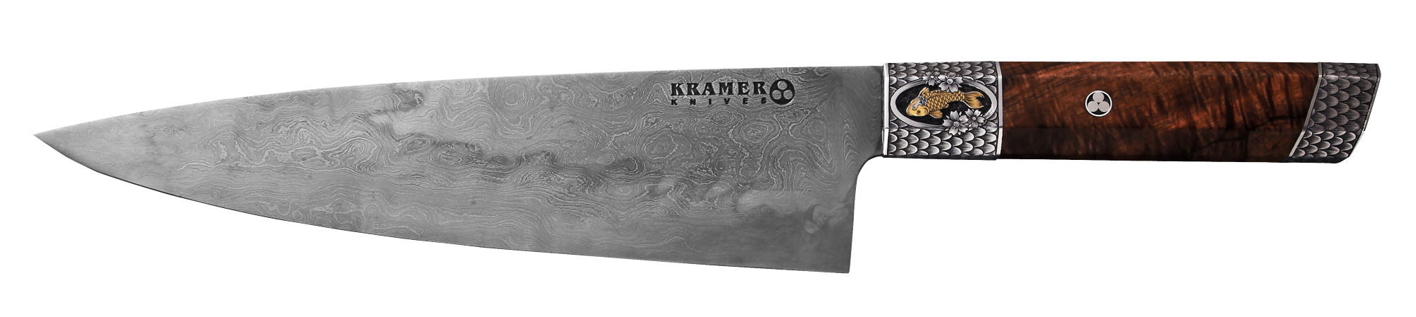 "8"" Meteorite Steel Chef with Curly Koa Handle - Engraving by Tom Ferry 