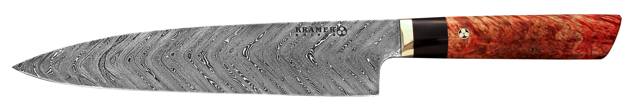 "9.5"" Gyuto Chevron Damascus, Box Elder Handle 